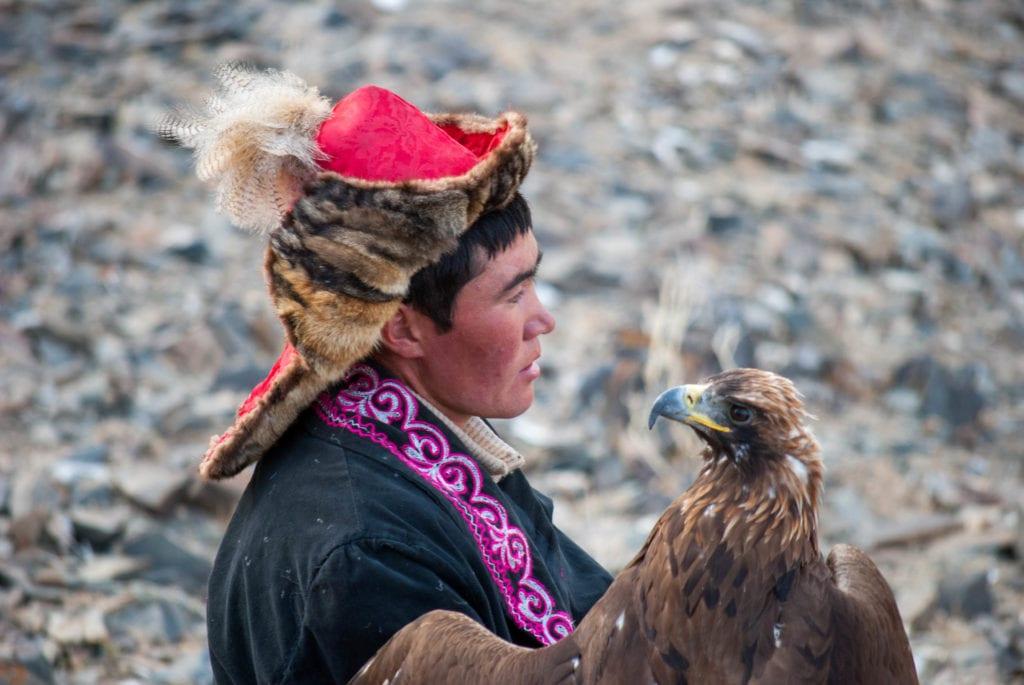 Eagle hunter with eagle