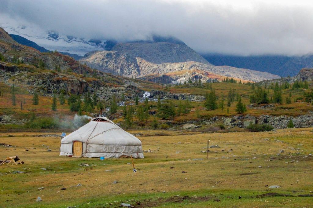 Kazakh Ger in Clouds