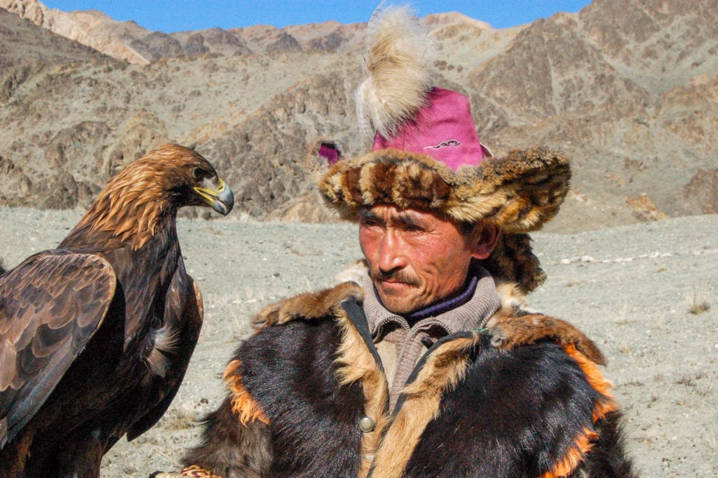Old Eagle hunter with Eagle